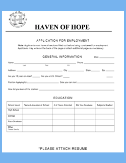 Application for Haven of Hope